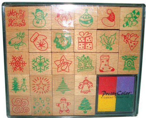 Christmas decorating wood stamp