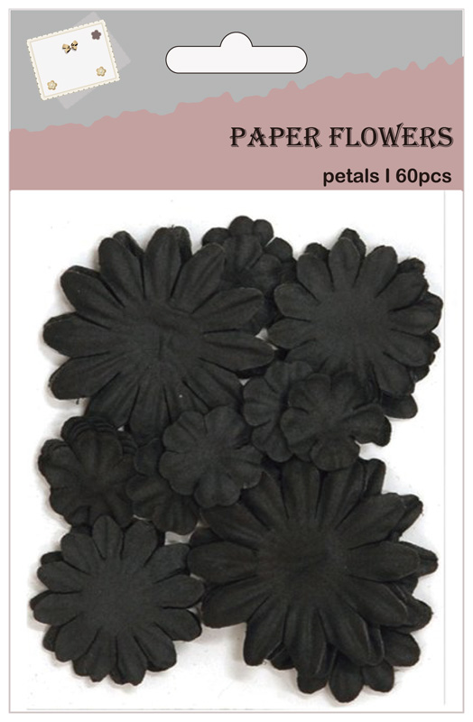 Black paper flower petals for decorating