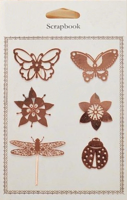 Antique bronze metal insects and metal flowers