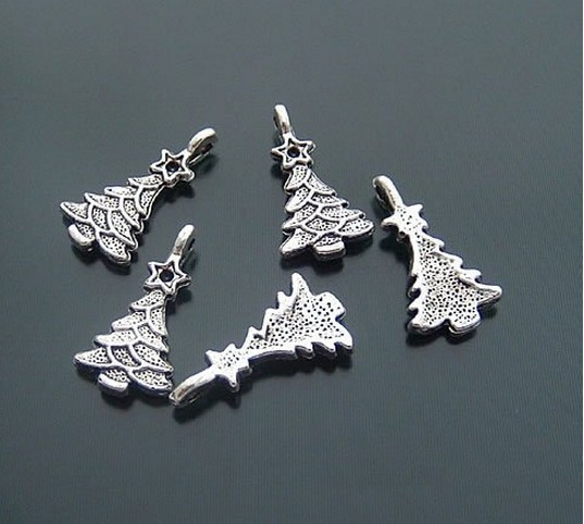 Antique silver Christmas tree charms metal