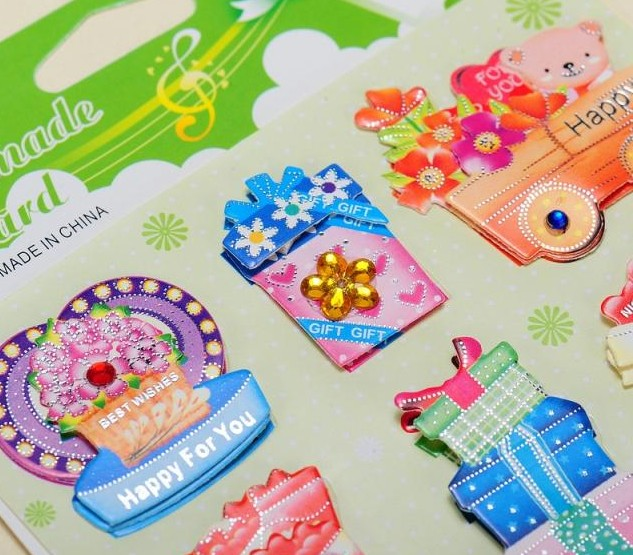 Craft teddy printed paper sticker 3D