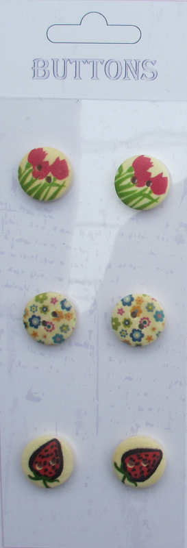 6pcs Assorted Printed wooden buttons
