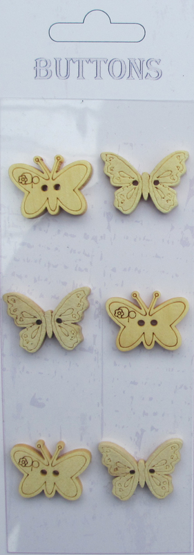6pcs butterflies Assort shape wooden buttons