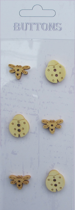 6pcs insects Assort shape wooden buttons
