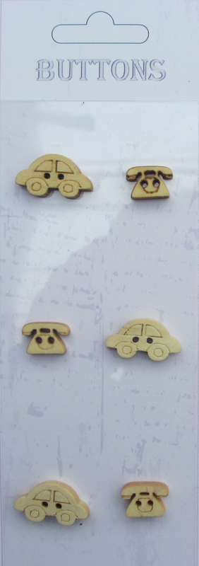 6pcs Cartoon toys Assort shape wooden buttons