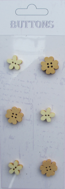 6pcs Flowers Assort shape wooden buttons-natural wood buttons