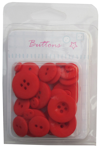 Red Solid novelty plastic buttons collection for scrapbooking