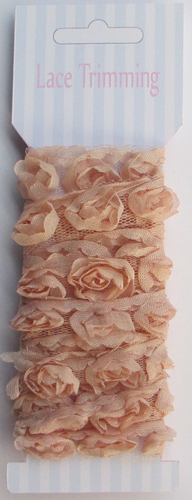 Flesh Pink Double row chiffon rose flower lace trim
