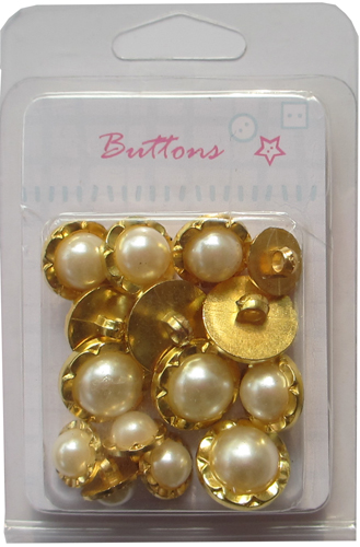 China wholesale Plating gold mixed pearl shank buttons
