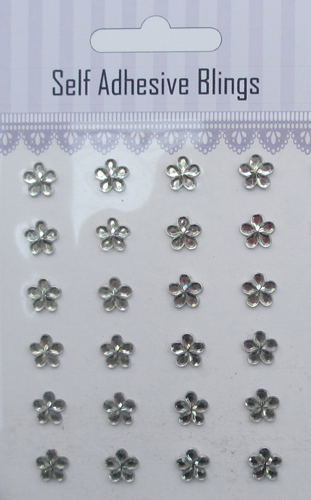 24pcs clear flower shaped rhinestones sticker