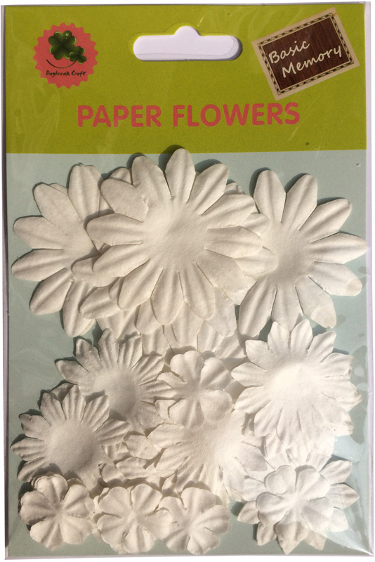 White collection scrapbook paper flowers-paper petals-embellishments