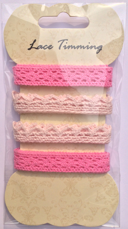 Pink cotton lace pack-decorating lace-card making embellishments