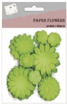 Green decorative paper flowers for scrapbooking