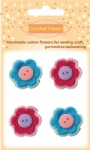 Handmade cotton crochet flowers with buttons decorative