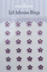 24pcs purple flower shaped rhinestones sticker