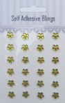 24pcs Mint flower shape rhinestones sticker