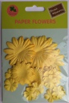Yellow collection scrapbook paper flowers-paper petals-embellishments