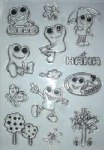 cartoon frogs decorative clear stamp